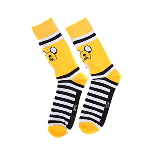 Official Licensed Men's Adventure Time Jake Character Crew Socks - S/M