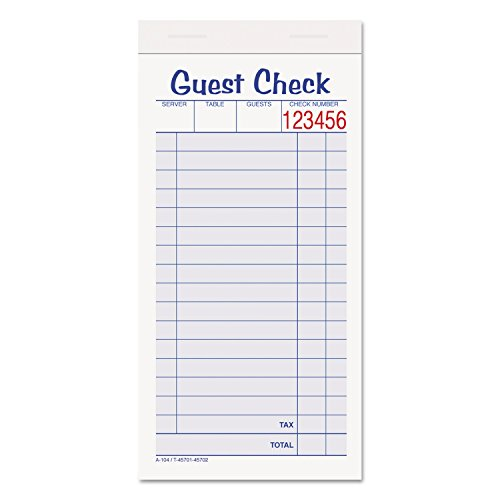 Guest Check Unit Set, Carbonless Duplicate, 6 7/8 X 3 3/8, 50 Forms, 10/pack (Adams Guest Checks)