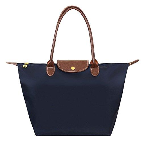 Catkit Casual Womens Nylon Summer Beach Holiday Hobo Totes Folded Handbag Dark Blue