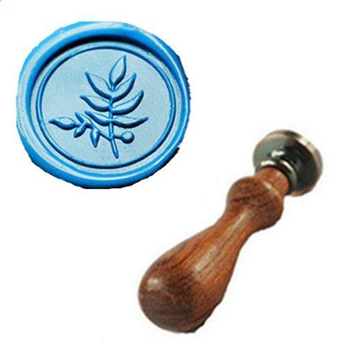 MDLG Vintage Fine leaf Custom Picture Logo Wedding Invitation Wax Seal Sealing Stamp Rosewood Handle Set ()