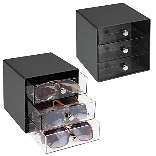 mDesign Stackable Plastic Eye Glass Storage Organizer Box Holder for Sunglasses, Reading Glasses, Accessories - 3 Divided Drawers, Chrome Pulls, 2 Pack - Black/Clear -