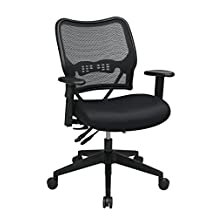 SPACE Seating Deluxe Air Grid Back with Mesh, 2-Way Adjustable Arms, Seat Slider and Nylon Base Managers Chair, Black