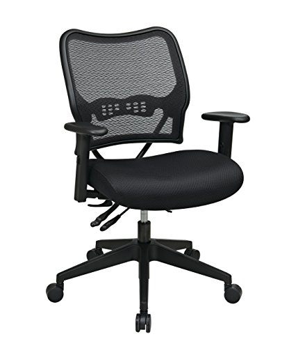 SPACE Seating Deluxe AirGrid Back with Mesh Seat, 2-Way Adjustable Arms, Seat Slider and Nylon Base Managers Chair…