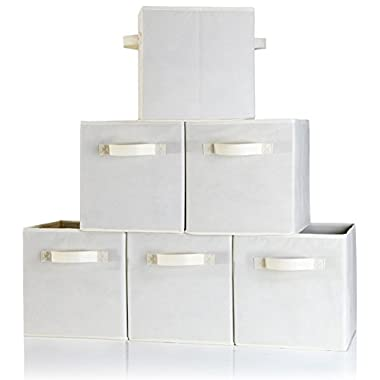 Dual Handle Storage Cubes - Set of 6 Beige Storage Bins for Cube Storage - Foldable Fabric Storage Box Containers with Two Handles and Collapsible Basket Design