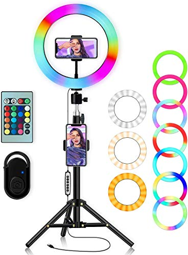 SHYLOC 18 inch RGB Selfie Ring [16 RGB /Promise imming] with Tripod Stand & Control & Hose Phone Holder & 360° Rotatable Gimbal Phot Dography immable Studio Lighting for Live Streaming