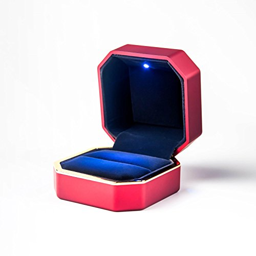 Red Ring Velvet (Fairycat Ring Box with LED light,Earrings,Coin,Jewelry Case, for Proposal,Engagement,Wedding,Gift (Red))