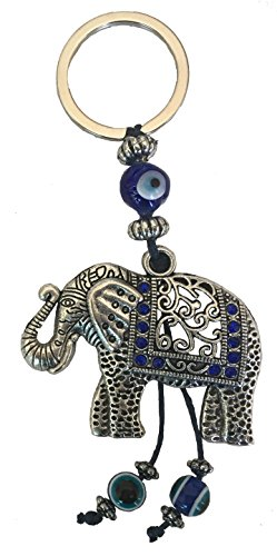 Evil Elephants (Bravo Team Blue Evil Eye Keychain Ring for Protection and Blessing, Elephant Charm for Strength and Power, Great Gift)