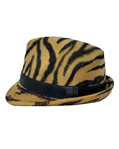 The Hatter Zebra Print Stretch Flannel Fedora With Pu Band