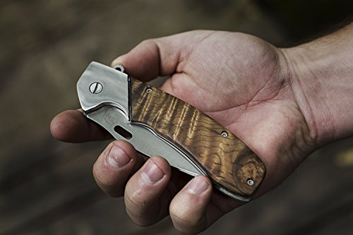 Haus Folding Pocket Knife Renegade EDC Folding Knife, Stainless Steel Blade, Burrow Wood Handle, 5 Inch Folded