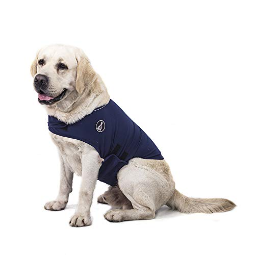 @HE Dog Anxiety Relief Coat Comfort Keep Clam Wrap Vest for XS Small Medium Large XL Dogs,Navy Blue Gray Rose-Red Camouflage (XL, Navy Blue) - Sweater Vest Dog