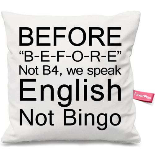 FavorPlus Pillowcase English Grammar Teacher Before, Not Bingo Pillow Cases Square Cushion Cover Design Bedroom Sofa Couch Pillow Sham 24X24 Inches by FavorPlus Pillowcase
