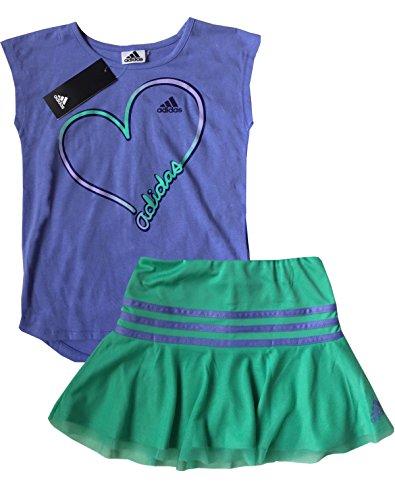 adidas Girl's 2 Piece Athletic T-Shirt & Skort Set (Purple/Green, 4T) by adidas