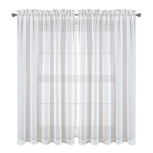 Curtains for Bedroom - Faux Linen Texture Sheer Voile Window Curtain Panel for Kitchen (White, 2-Pack, W55 x L45) ()