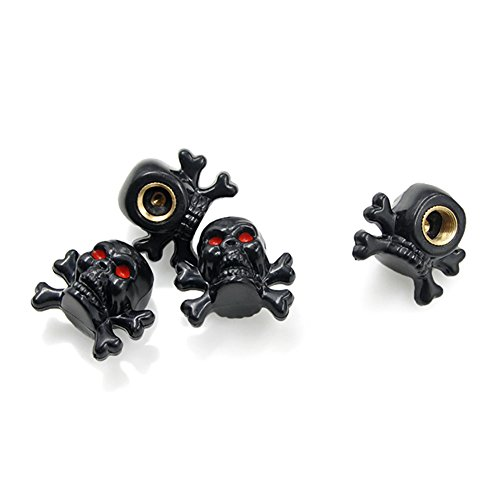 Skull Valve Stem Caps (NEW POWER 4PCS New Skull Designed Antirust Copper Core Car Tyres Valve Steml Caps Wheel Valve Stem Covers (Black))