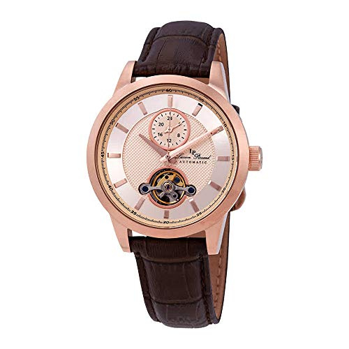 Lucien Piccard Open Heart GMT Automatic Rose Gold-Tone Dial Men's Watch LP-28007A-RG-09-BRW