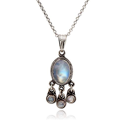 Luna Azure Vintage 925 Style Sterling Silver Moonstone Pendant with 3 Drops Necklace Women Girls Gift Present ()