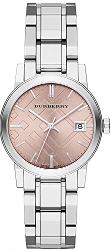 SALE! Authentic Burberry TOP LUXURY Watch Womens Girls The City Silver Stainless Steel Pink Textured Date Dial BU9124 by BURBERRY