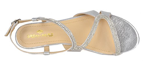 DREAM PAIRS Women's Formosa_1 Silver Low Platform Wedges Slingback Sandals Size 9 B(M) US by DREAM PAIRS (Image #4)