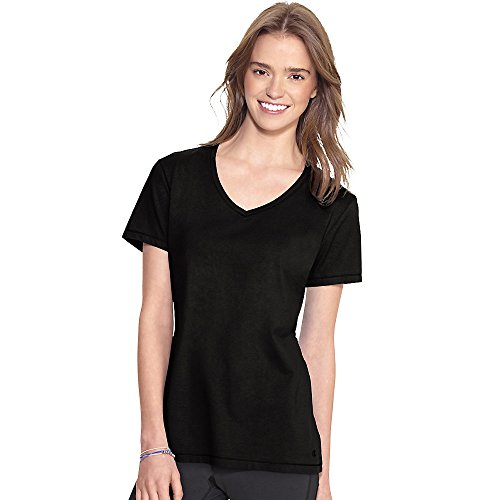 Champion Women's Jersey V-neck Tee, Black, XX-Large