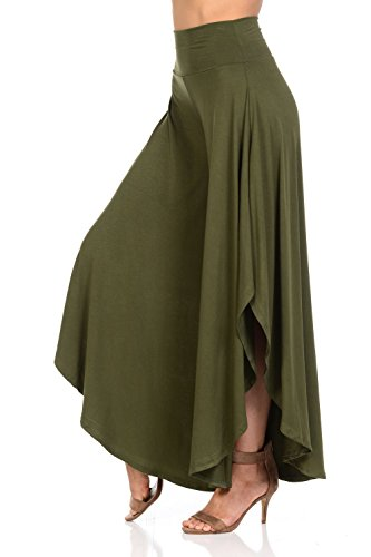 JDJ CO. Women's Layered Wide Leg Flowy Cropped Palazzo Pants, 3/4 length High Waist Palazzo Wide Legs Capri Pants (XL, Olive)