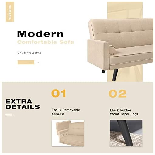 Living Room VICTONE Futon Sofa Bed Modern Convertible Couch Adjustable Fabric Sleeper Sofa for Living Room Mid-Century Fabric Bench… modern sofas and couches