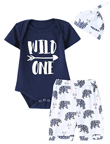 Birthday Boy Bear - Shalofer Wild One Baby Boy Outfits Baby Bear Printed Short Set (Royal Blue,6-12 Months)