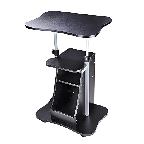 - Triprel Inc Home Office Portable Laptop Desk Rolling Adjustable Table Cart Computer Mobile Stand - Black Color