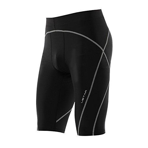 USTAR Men's Pro Compression Short Leggings Baselayer Running Training Sports Cool Dry 4Way-Stretch Moisture-Wicking (M, Black/Grey)