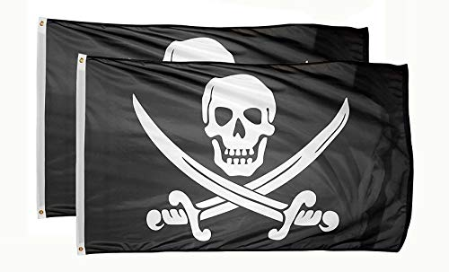 Flag Jack Calico Rackham - DANF 2 Pack Pirate Jack Rackham Flag Knife Jolly Roger Skull and Crossbones3 by 5 FT Polyester Flag Banner