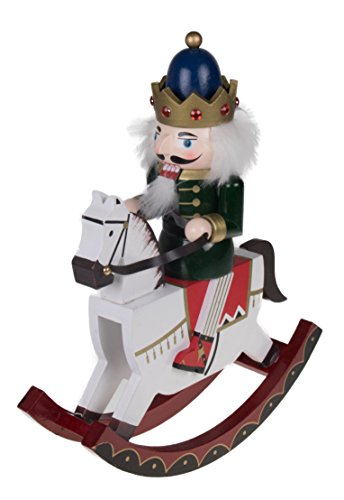 (Clever Creations King Nutcracker Rocking Horse Collectible Wooden Christmas Nutcracker | Festive Holiday Decor | Riding White Rocking Horse | 100% Wood | 12