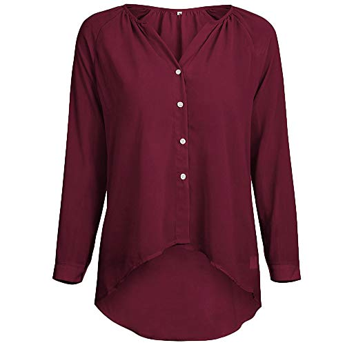 Chemise Automne Hauts Boutons Femme Manches Shirt Chemisier Rayure Col Casual T Rouge V Longues rqxfY7wrT