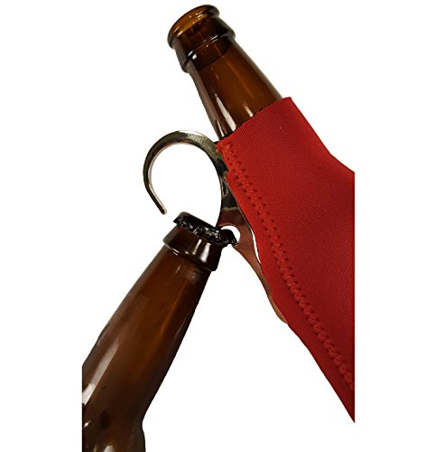 CoozieClaw Unique Bottle Cooler with Built in Hook and Bottle Opener Fun Gift #1 Hanging Bottle Holder Easily Hang Your Cold Beer Bottle Sleeve Anywhere (1, Red With Logo) Review