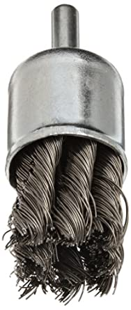 """Norton Stem Mounted Knotted End Brush, Carbon Bristles, 0.014"""" Wire Size, 1/4"""" Shank Diameter, 1"""" Diameter (Pack of 1)"""
