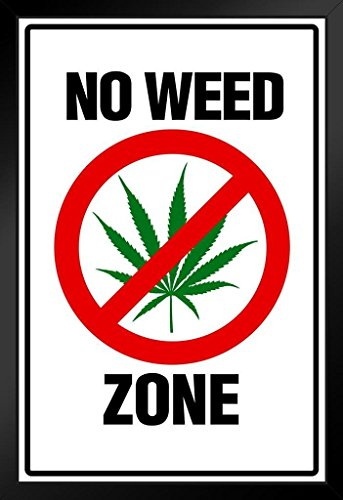 Warning Sign No Weed Zone Marijuana 420 Weed Dope Ganja Mary Jane Wacky Tobacky Bud Framed Poster 14x20 inch