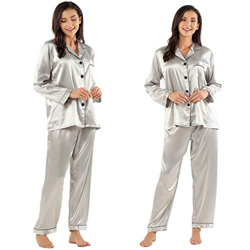 (GAESHOW Women's Satin Silk Pajamas Set Long Sleeve Button-Down Pj Set Sleepwear Nightwear Loungewear Two Piece Pj Sets)