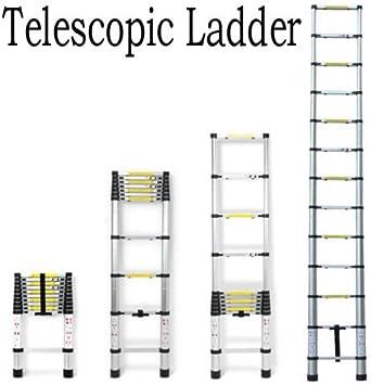 3,8 m 13 pasos multifunción portátil de aluminio plegable escalera telescópica extensión escalera antideslizante funda de goma: Amazon.es: Bricolaje y herramientas