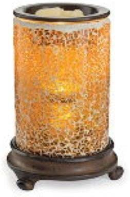 Candle Warmers Etc. Crackled Amber Glass Mosaic Illumination
