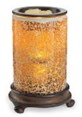 Candle Warmers Etc. Crackled Amber Glass Mosaic