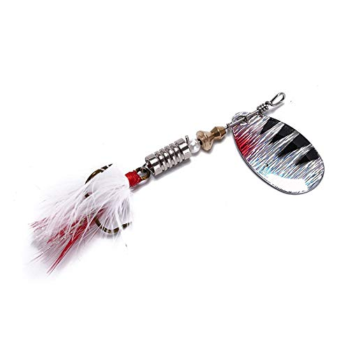 Uranus - Spoon Bait ideal for Bass Trout Perch pike rotating Fishing with Feather Treble Hook Tackle Fishing Lure ()