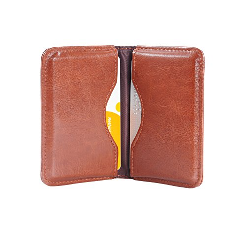Business Card Case, Wisdompro 2-Sided PU Leather Folio Professionl Name Card Holder Wallet Case/Organizer with Magnetic Shut for Men and Women, Ultra Slim and Thin - Brown 2 Pocket Card Case