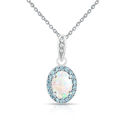 Sterling Silver Simulated White Opal and Simulated Blue Topaz Oval Halo Necklace