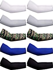 10 Pairs UV Protection Cooling Arm Sleeves Anti-Slip Ice Silk Arm Cover for Men
