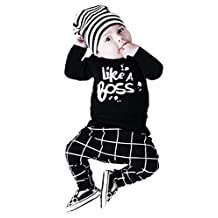 Baby Boys Long Sleeve '' Like A Boss'' T-shirt + Lattice Print Pants 2pcs Outfits Set