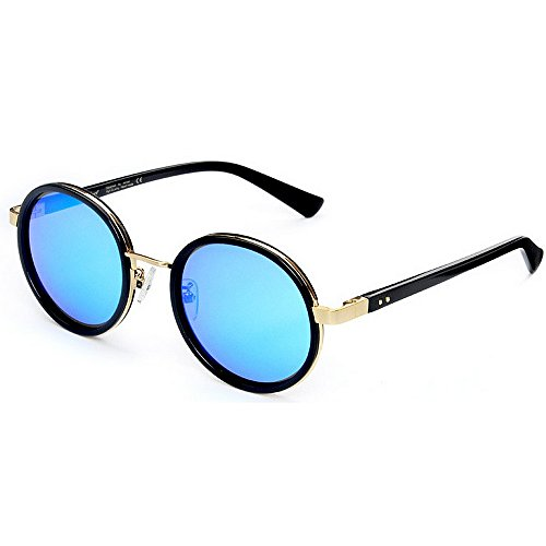 Redonda pequeña polarizadas Sol de Acetato Exquisita Gafas de Tonos Playa Godbb Protección Proteccion Fibra Sol UV Libre Mujer de Lente de al Moda de Gafas Conducción Ojos TAC Aire Vacaciones Marco znYXqv