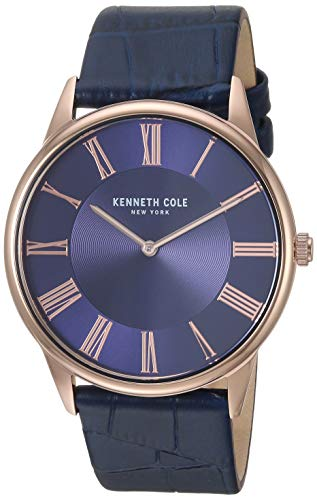 Kenneth Cole New York Men's Classic Stainless Steel Japanese-Quartz Watch with Leather Strap, Blue, 22 (Model: KC50915002)