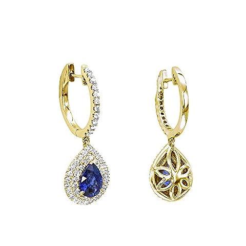 Ladies 14K Gold Sapphire Diamond Pear Shape Drop Earrings 1ctw G-H color (Yellow Gold) - I1 Pear Earrings