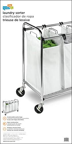 HoneyCanDo Heavy Duty Quad Rolling Laundry Sorter Hamper ChromeWhite