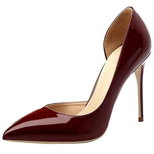 Jushee High Heels for Women Pumps Pointed Toe Patent Suede Court Shoes Stiletto 10cm 4 inch Wine Red mUjNRhje5i