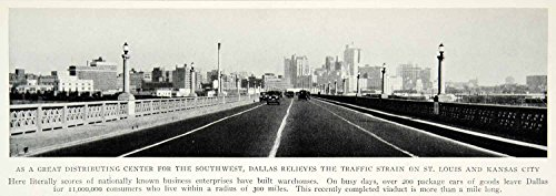 1928 Print Highway View Street Traffic Scene Dallas Texas Cityscape Historical - Original Halftone - Ter Texas