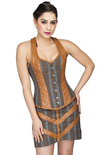 無意味燃料負荷Cotton Leather Gothic Steampunk Burlesque Waist Training Bustier Overbust Corset